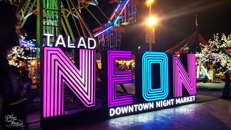 Talad Neon Downtown Night Market sign