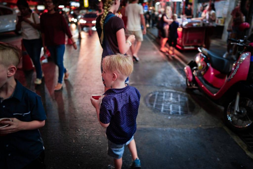Best Bangkok Market 4: Chinatown, my son exploring the market