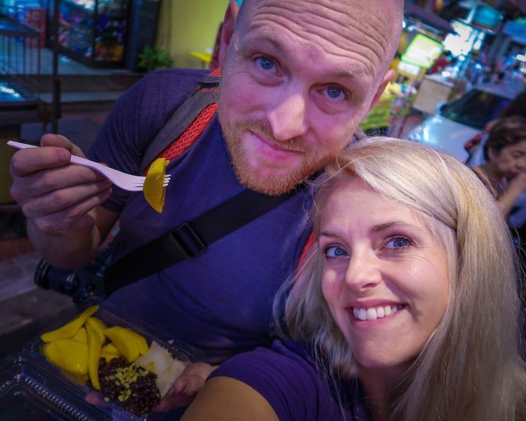 Chris and I eating at the night markets in Bangkok