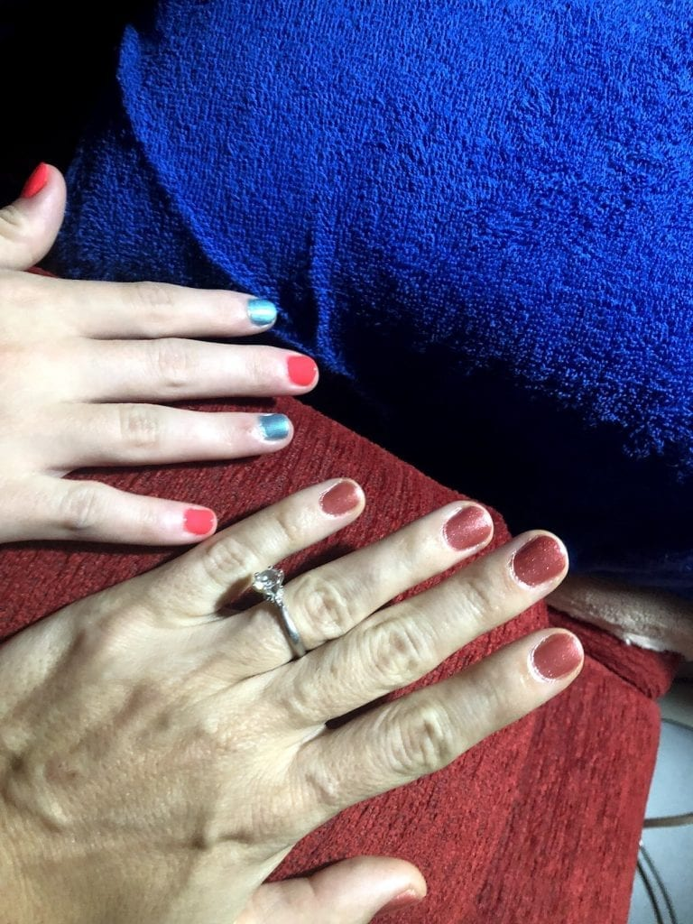 Our freshly painted nails
