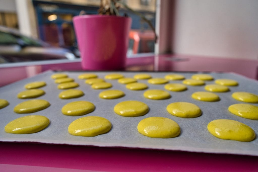 Baking sheet of Macrons waiting for the oven