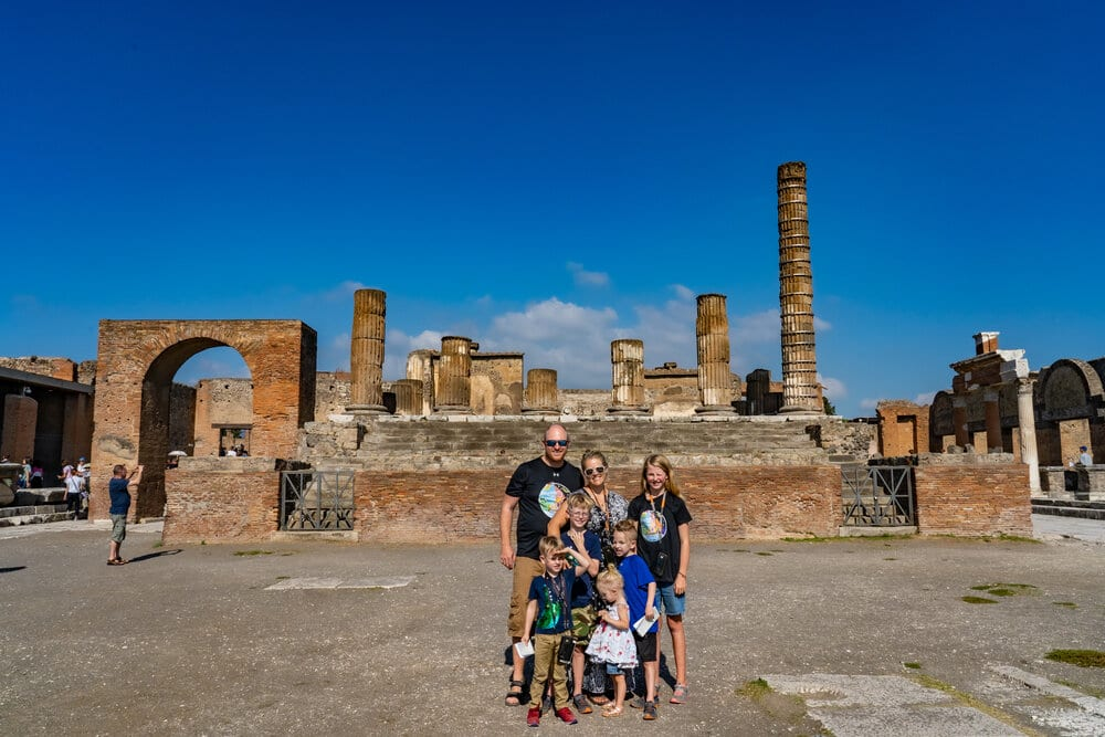 A picture in Pompeii with kids and my husband.