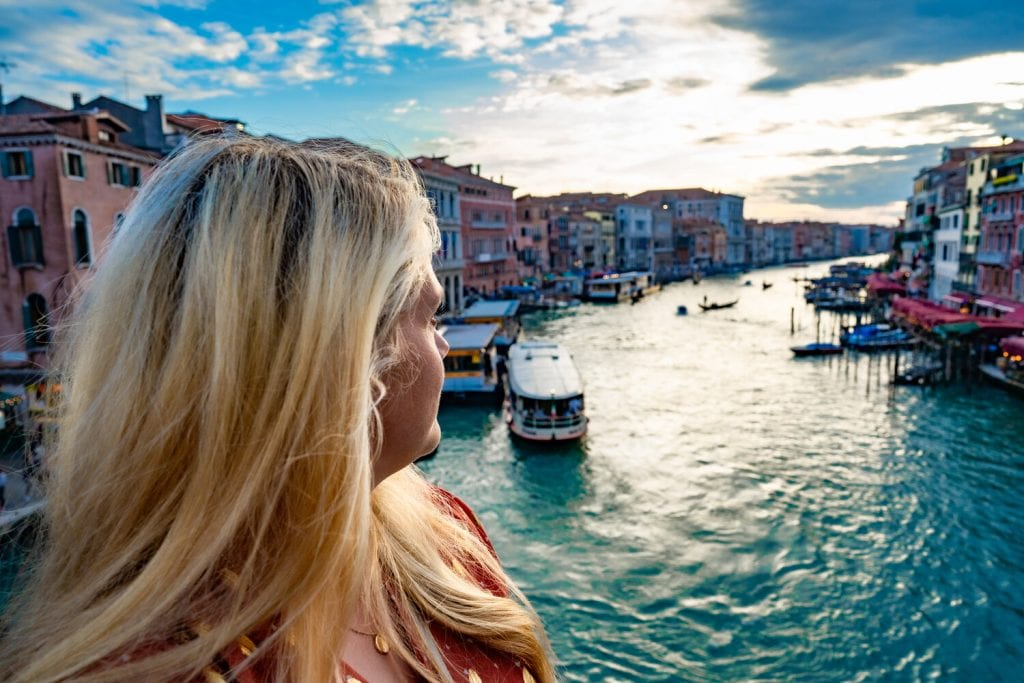 italy itinerary- me looking at the grand canal