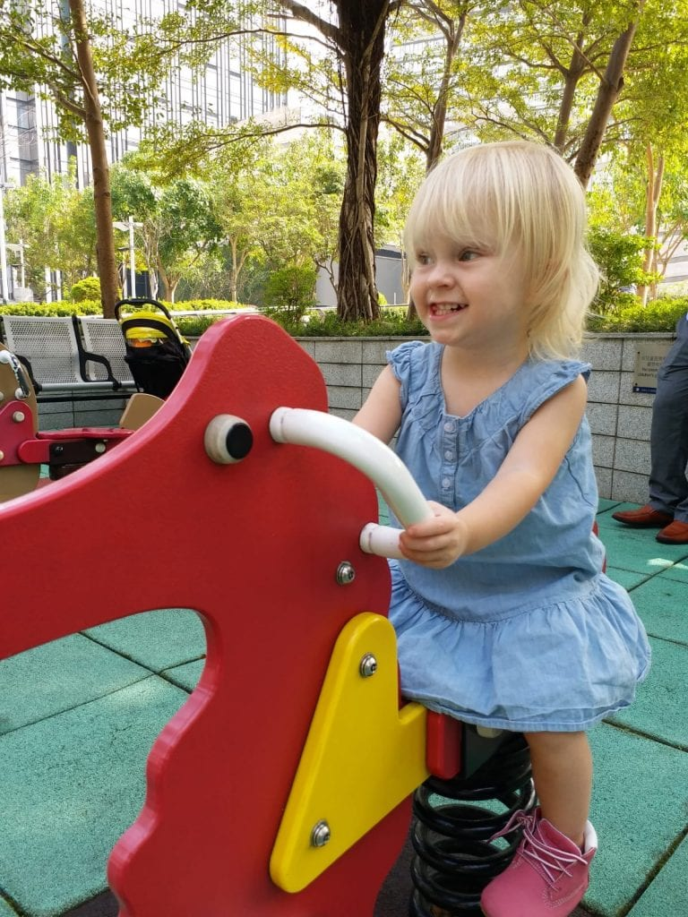 My youngest daughter playing at the park