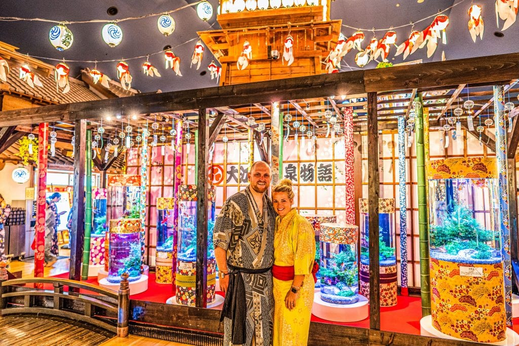 Chris and I in Onsen Tokyo with traditional Japanese garments