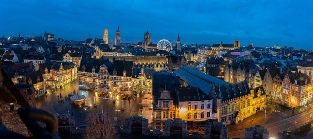 Belgium Trip with Kids: landscape photo of Ghent at night
