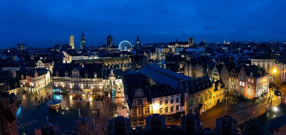 Belgium Trip with Kids: another landscape photo of Ghent at night showcasing the Ferris wheel
