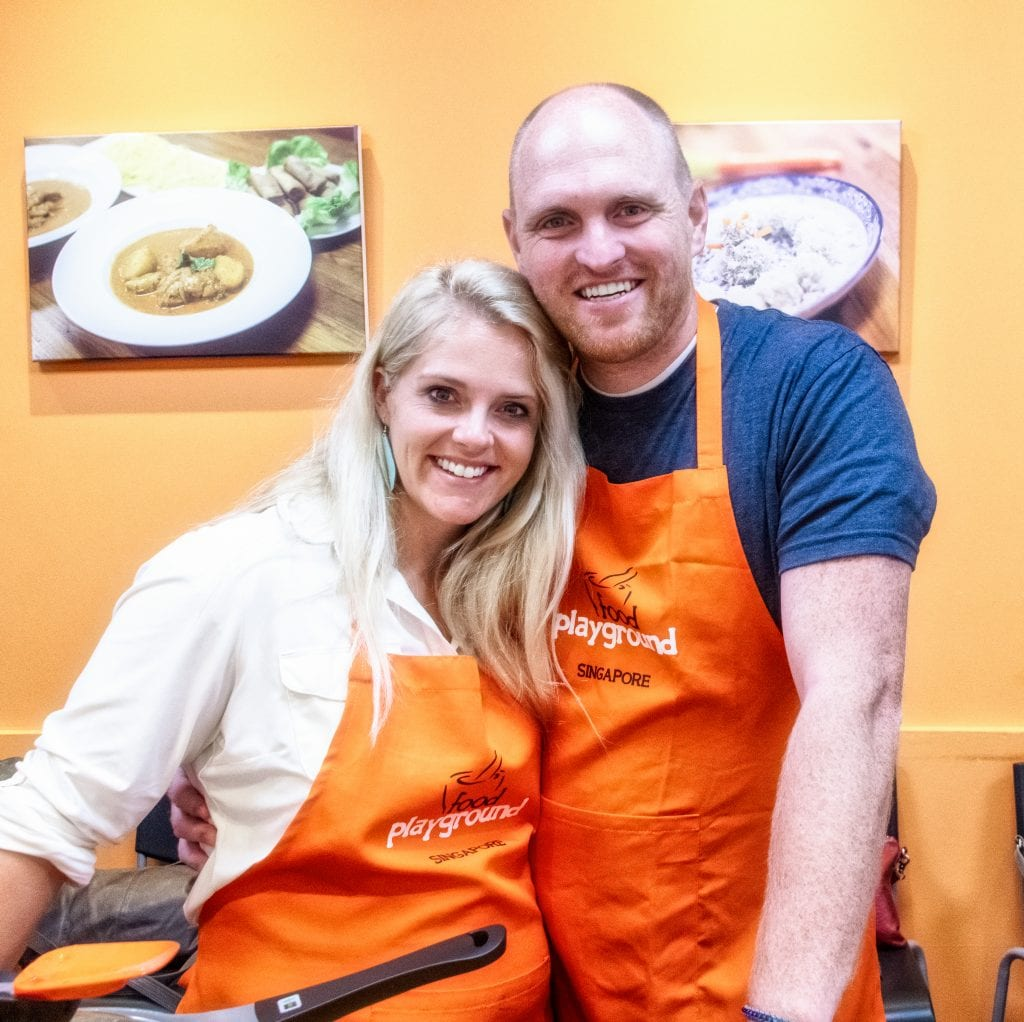 Chris and I at a cooking class in Singapore
