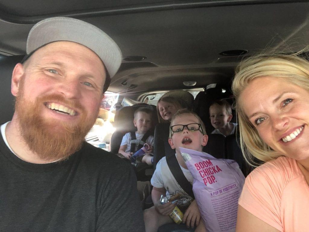 Family selfie in the car