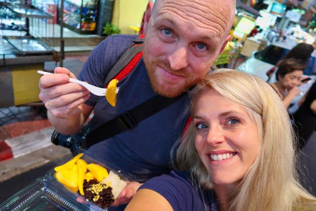 Chris and Leslie eating at the Bangkok night market