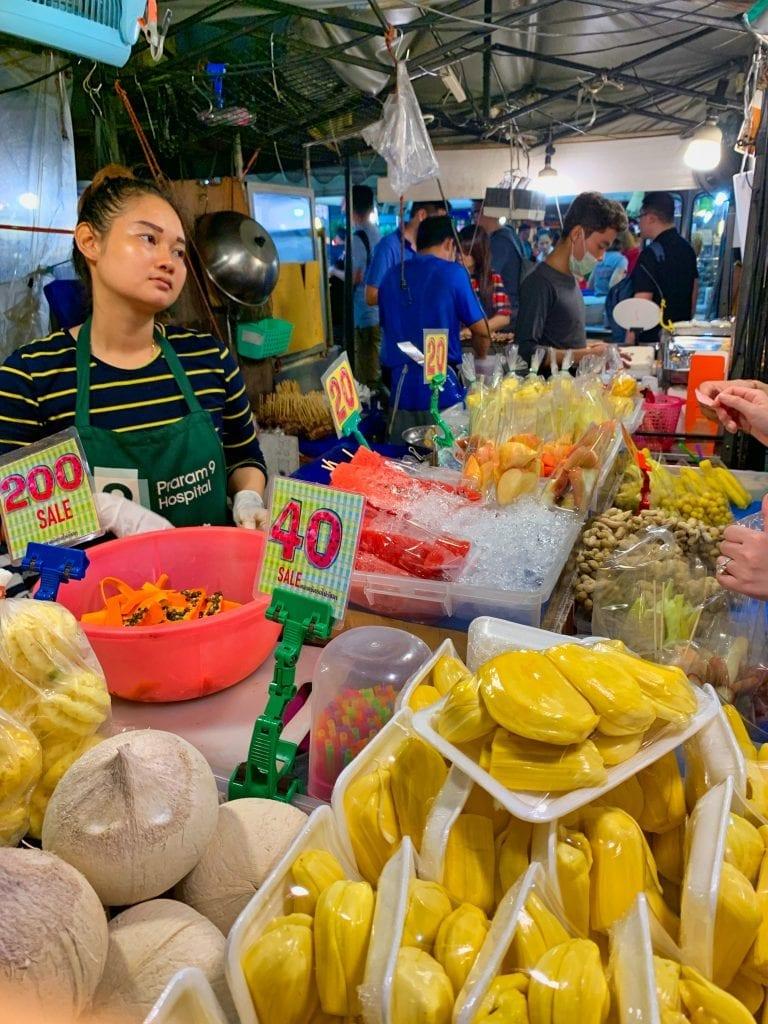 Mango sticky rice stand at the Bangkok night market