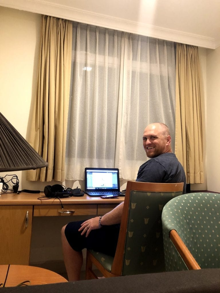 Chris working remotely from our Airbnb