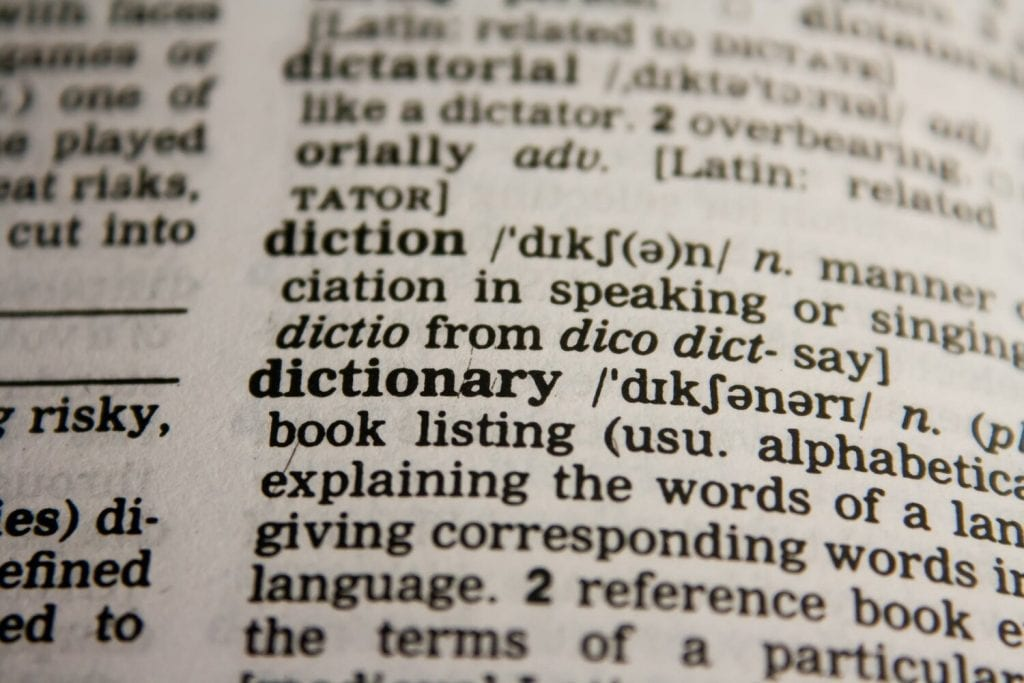 Dictionary definition of diction