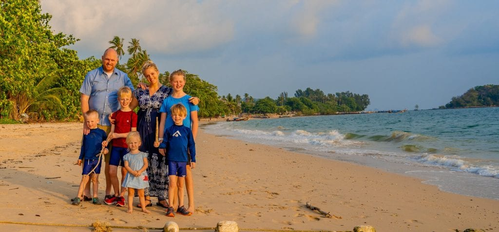 trip around the world- family photo on the beach in Krabi, Thailand