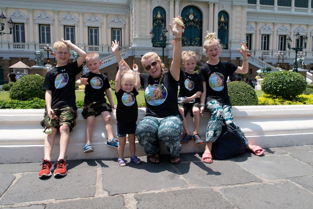 bangkok with kids- my family outside of a temple