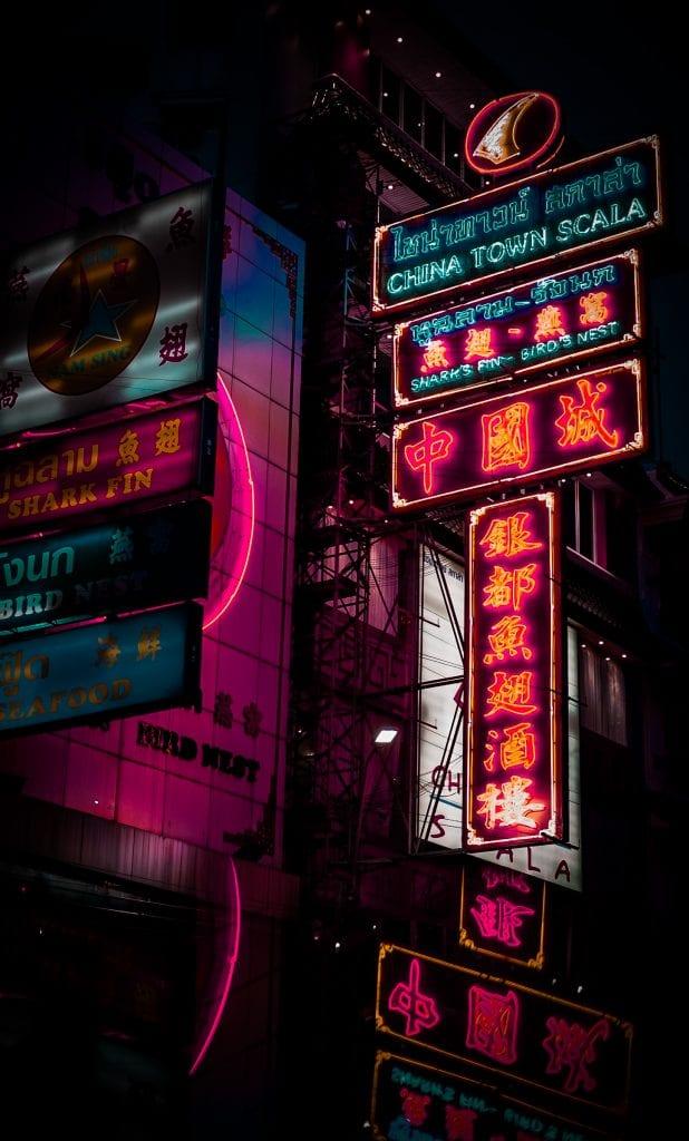 bangkok with kids- china town neon sign
