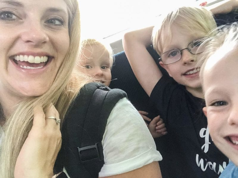 family travel- a selfie of my kids and I