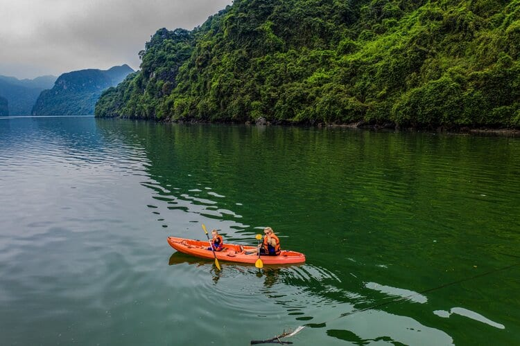 family travel- kayaking in Halong bay
