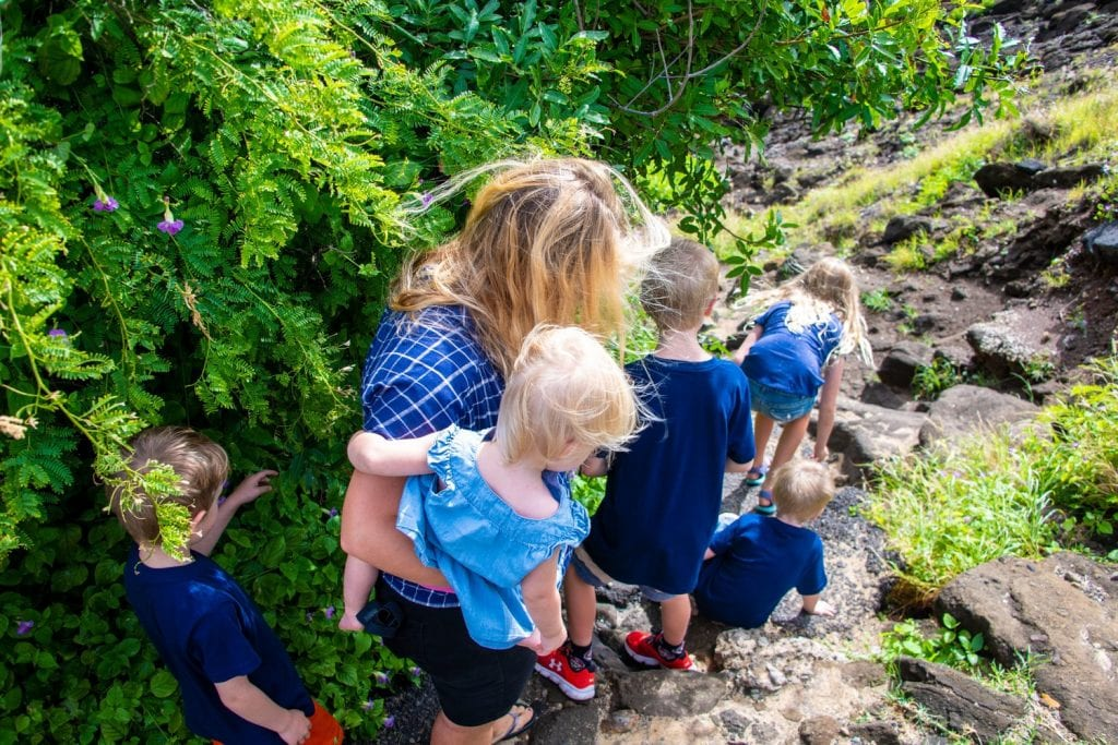how to deal with homesickness- my kids and I on a rocky hike