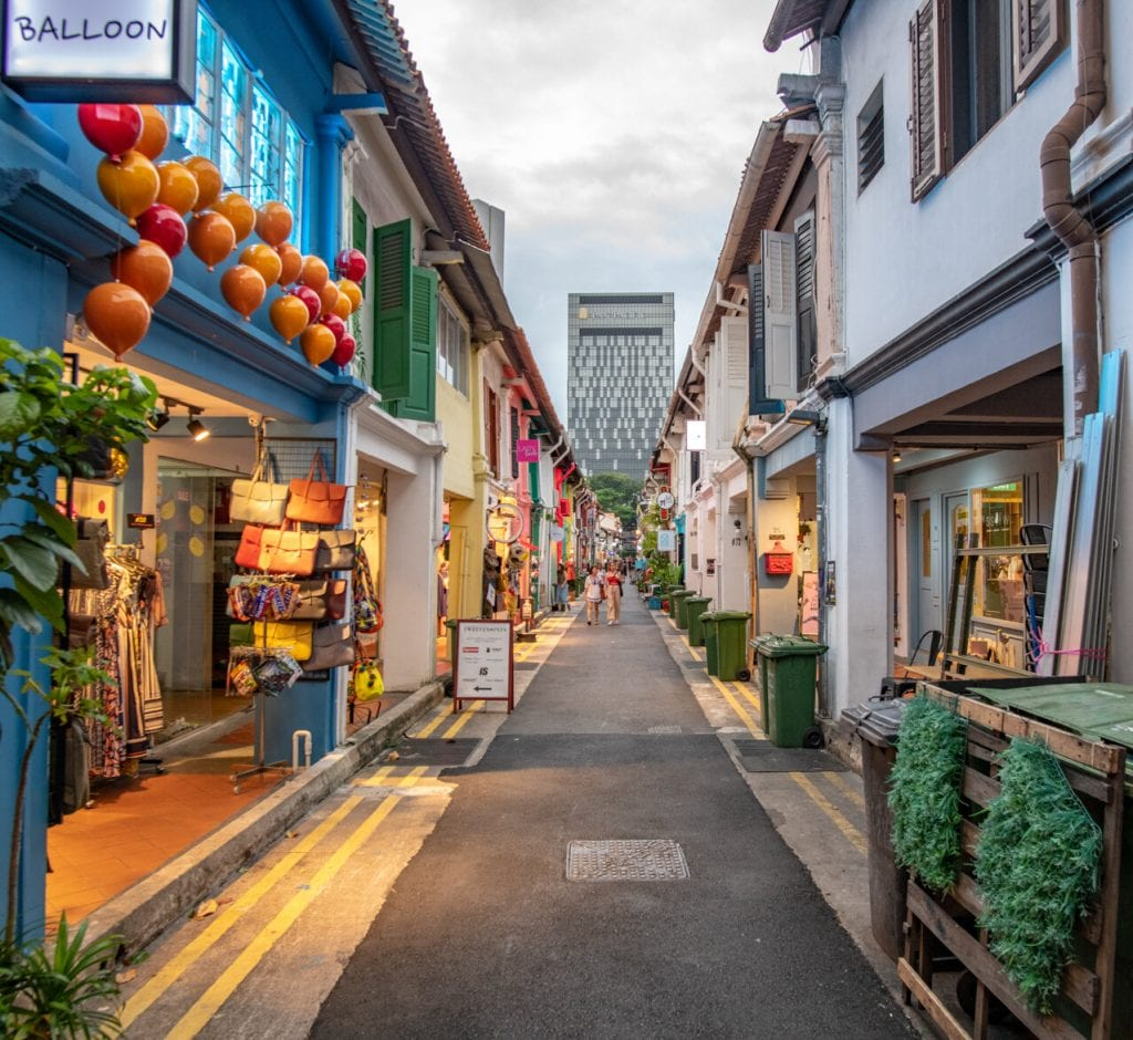 singapore travel guide- a colorful street full of little stores