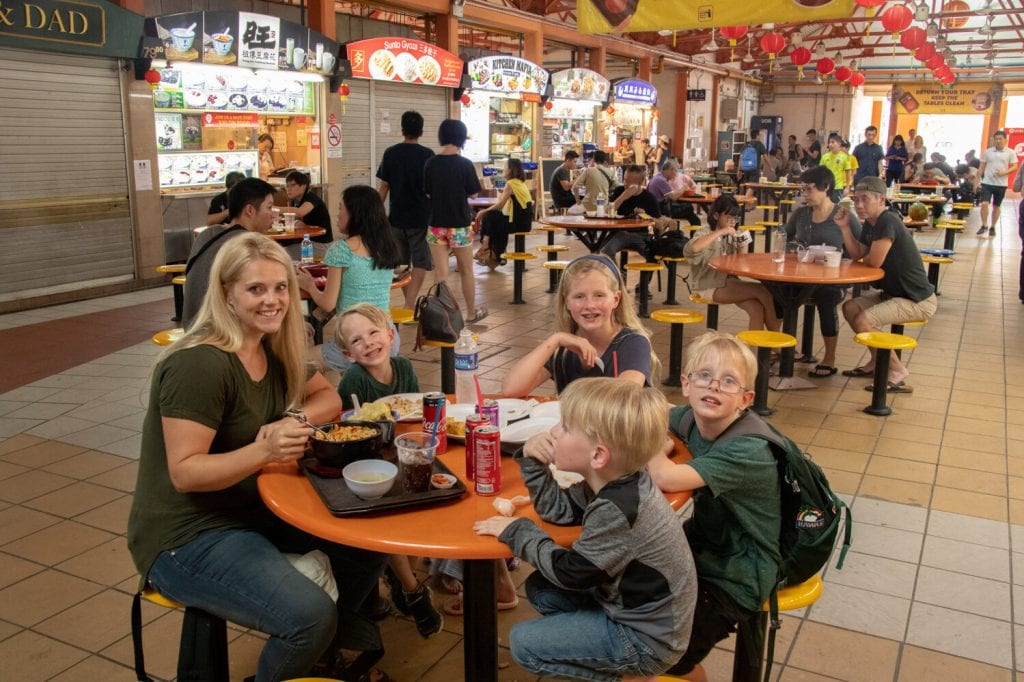 singapore travel guide- eating at a food court with my family