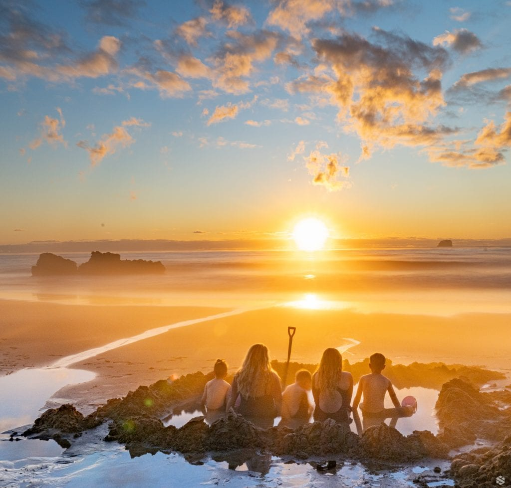 Sunrise at the hot sand beach in New Zealand with my kids.