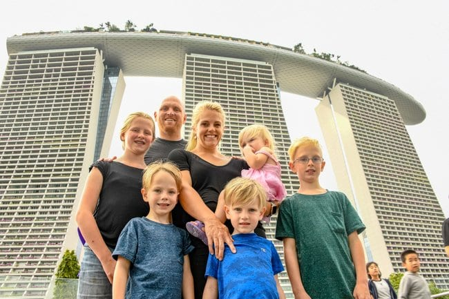 Family picture in front of the Marina Bay Sands hotel in Singapore