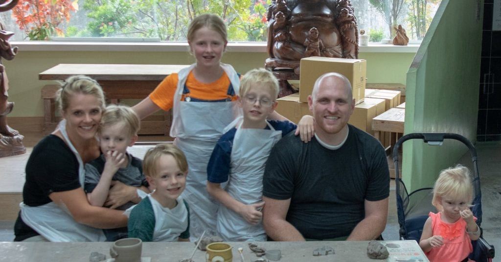 Family cooking class with all 5 kids, Chris, and I