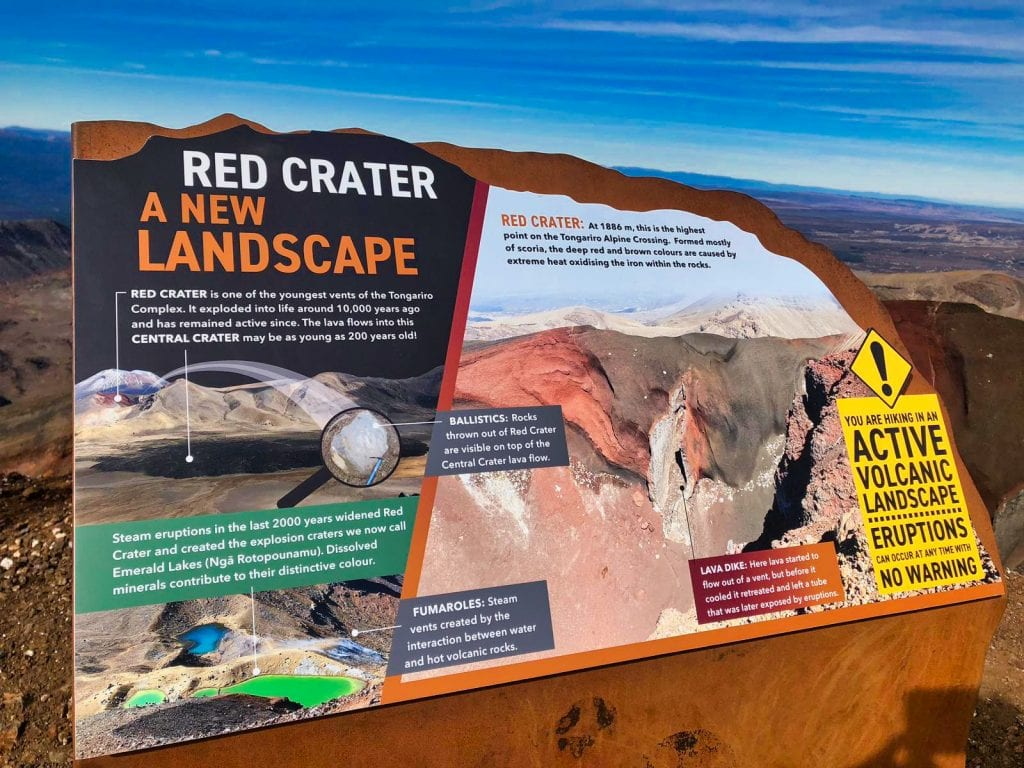 Educational signs along the Tongariro Alpine Crossing, which was perfect to show our kids while we hiked