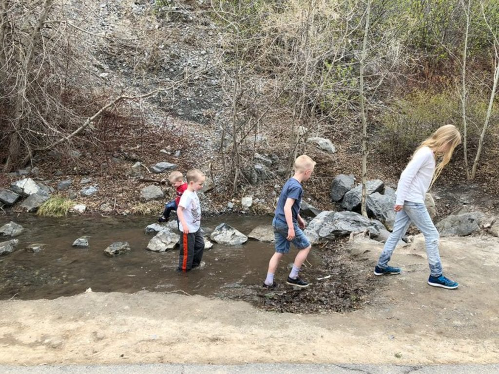 The kids playing in a stream