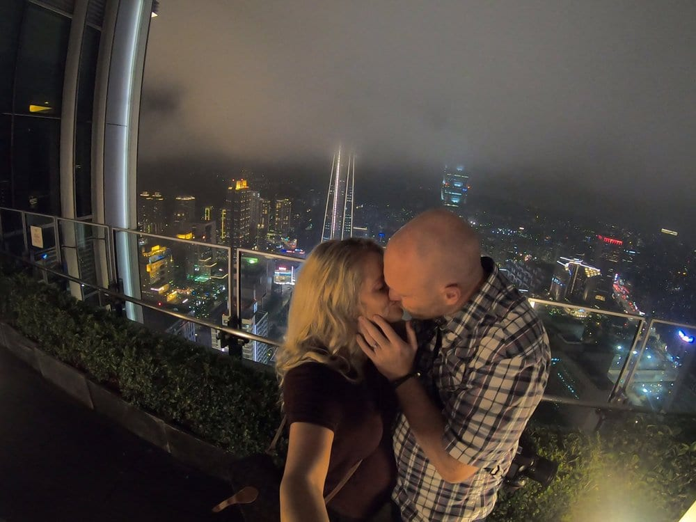 Chris and I at Taipei 101, with the city views in the background