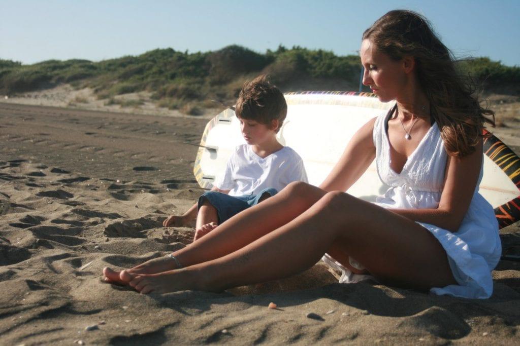 Lulu and son on the beach