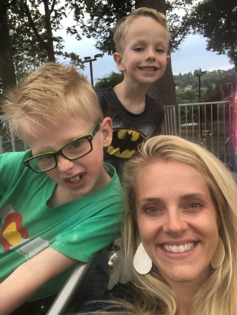 Selfie of Mom and two of the boys