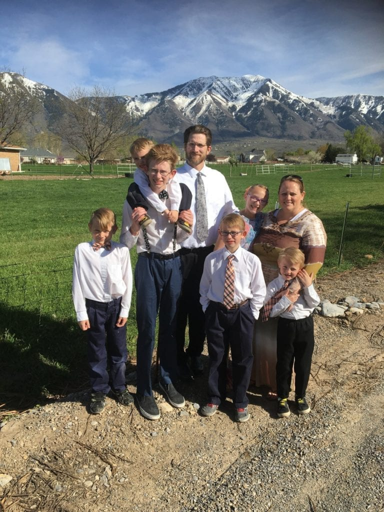 The Flory family dressed up in front of a Mountain View