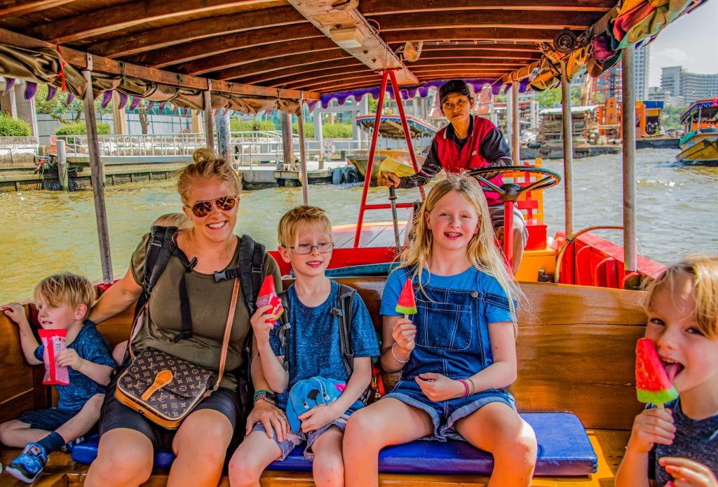 Boat ride in Bangkok with our kids